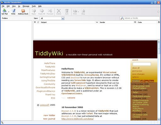 Screenshot of TiddlyWiki in Thunderbird